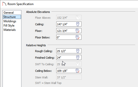 Set the Finished Ceiling value on the Structure panel of the Room Specification dialog