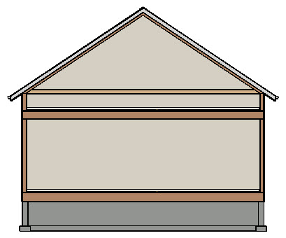 "Section view displaying a roof resting on 24"" high knee walls"