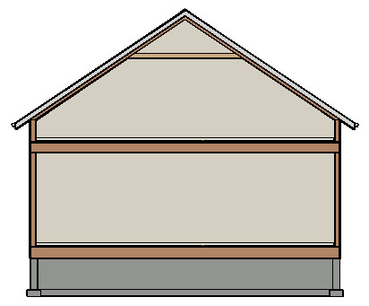 Section view displaying a roof resting on knee walls and a ceiling that has been set back to the default value