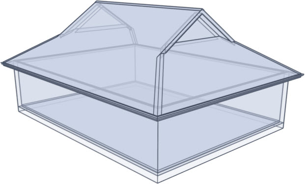 Dutch gable roof glass rendering