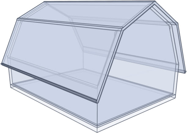 Gambrel roof glass rendering