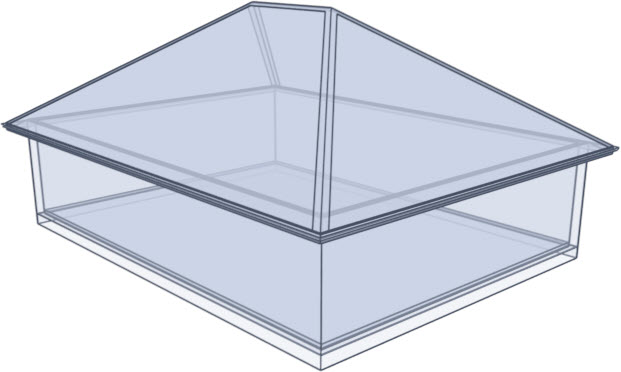 Glass house rendering of a hip roof