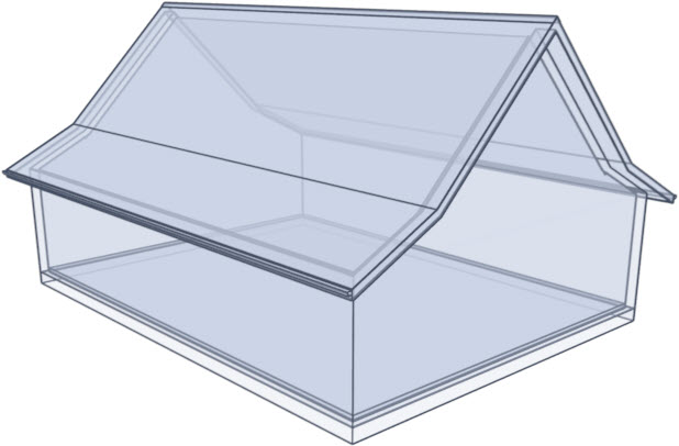 Glass house rendering of a gullwing roof style