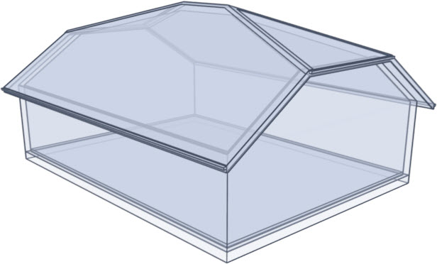 Glass house rendering of a half hip roof