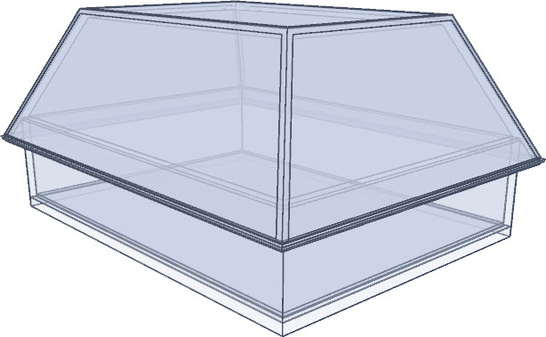Glass house rendering of a mansard roof