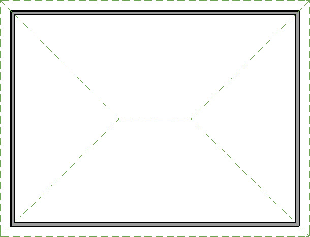 Plan view of a hip roof on the structure