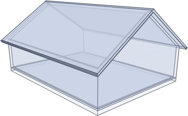Glass rendering of a gable roof