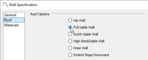 Specifying a wall to be a Full Gable Wall
