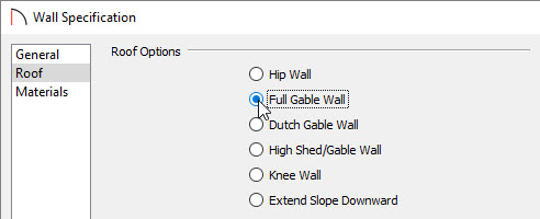 Selecting Full Gable Wall