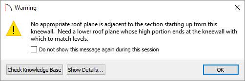 Adjust dormer roof plane warning dialog