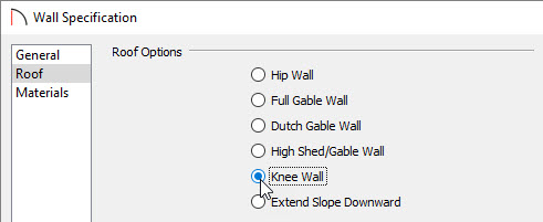Setting the walls to be knee walls