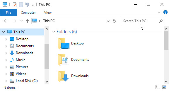 Windows file explorer window