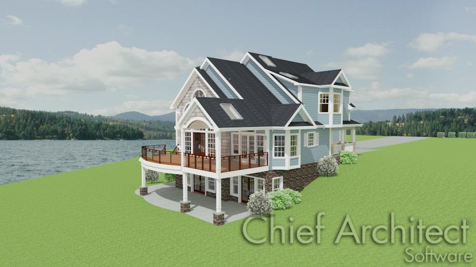 Exterior view of home with walkout basement and sloped terrain