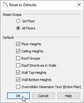 Reset floor, ceiling, wall top, and wall bottom values to default