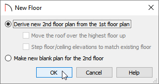 New floor dialog with the Derive option selected