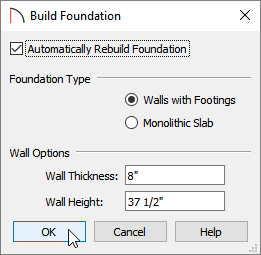 Build Foundation dialog where foundation settings can be specified