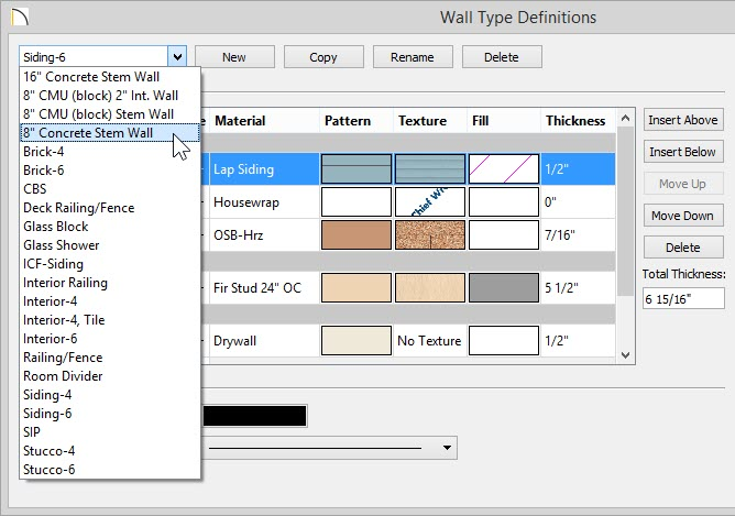 "Wall Type Definitions dialog showing 8"" Concrete Stem Wall selected from drop-down list"