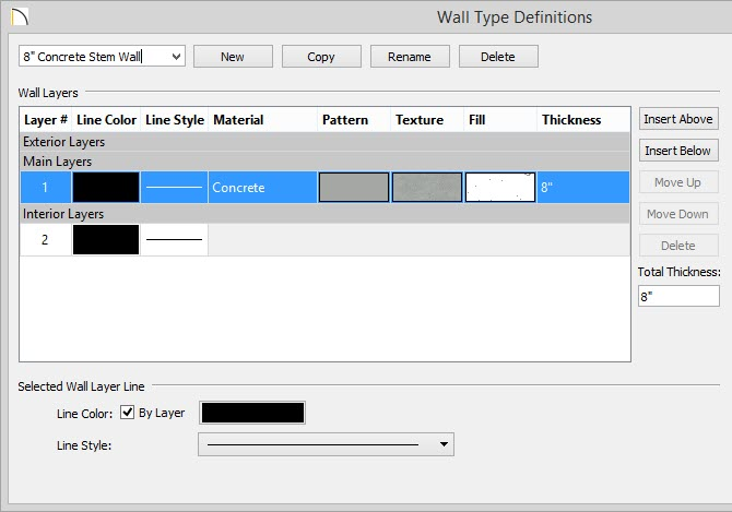 "Wall Type Definitions dialog showing 8"" Concrete layer as only layer for selected wall type"
