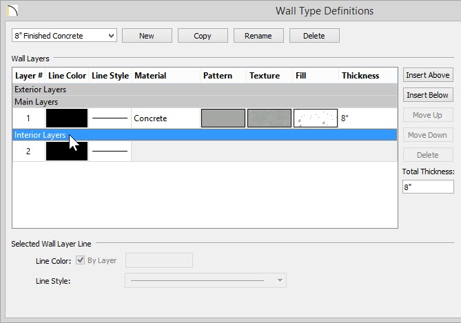 Wall Type Definitions dialog with Interior Layers selected and highlighted