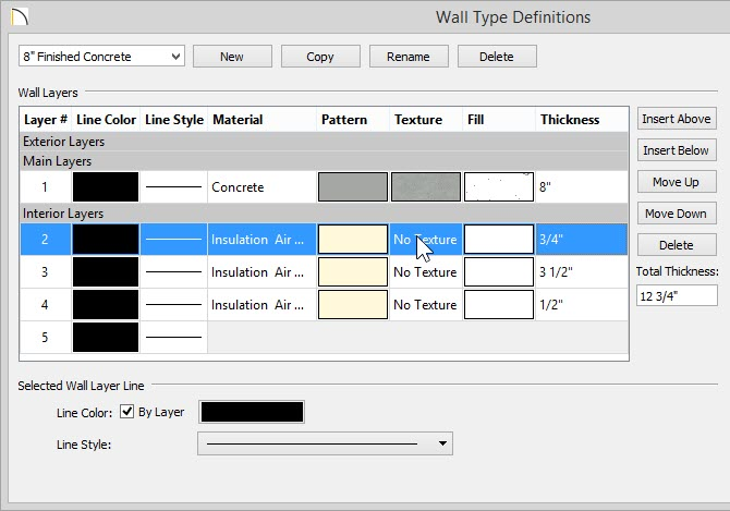 Wall Type Definitions dialog showing three new layers added to the Interior Layers section and each layer's Thickness has been set