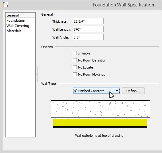 "Foundation Wall Specification dialog showing 8"" Finished Concrete selected for the Wall Type"
