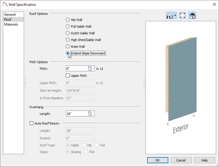 Selecting Extend Slope Downward in the the Wall Specification dialog