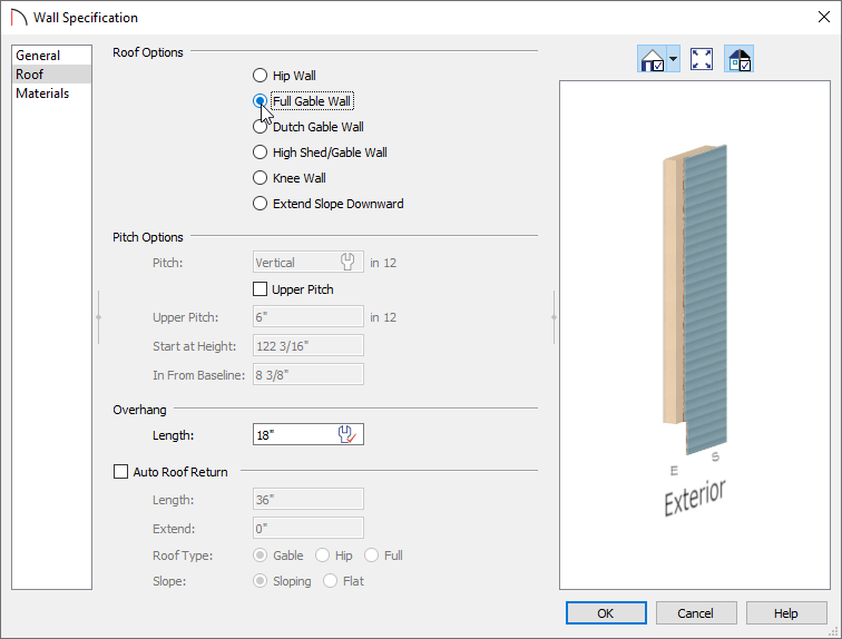 Selecting Full Gable Wall in the Wall Specification dialog