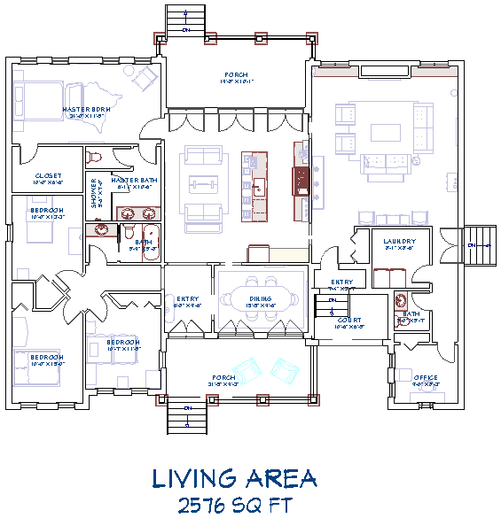 Living Area label displaying on a floor plan