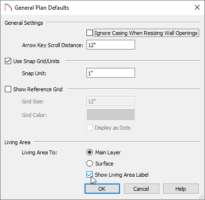 Show Living Area Label checkbox is selected in General Plan Defaults dialog.