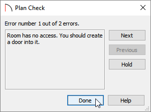 Click Done in the Plan Check dialog