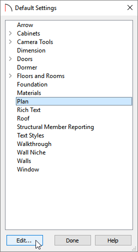 Select Plan, then click Edit in the Default Settings dialog to open the Plan Defaults