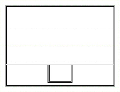 Floor plan view of house showing roof planes, ceiling lines, interior wall and exterior walls of dormer