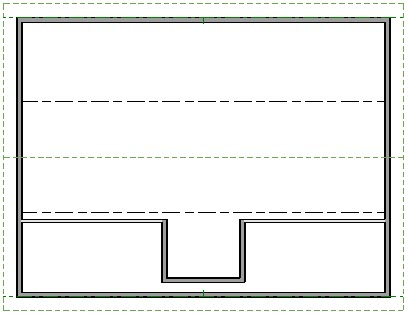 Floor plan view showing middle section of Knee Wall deleted between dormer walls