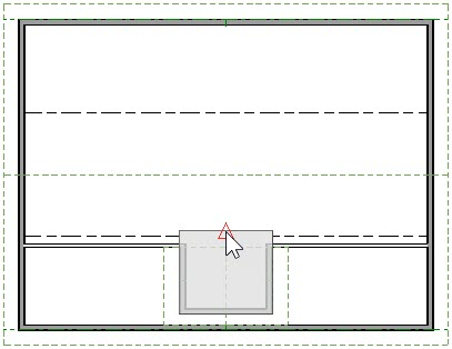 Floor plan view with Skylight selected and Break Line Edit Tool used to split back line segment