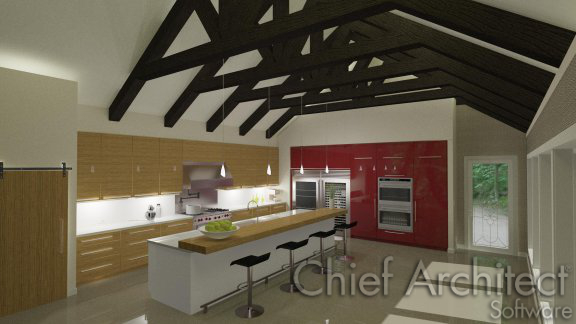 Exposed trusses over modern kitchen