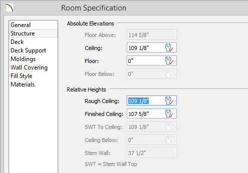 Room Specification dialog - Structure panel - Rough Ceiling set to 109 1/8