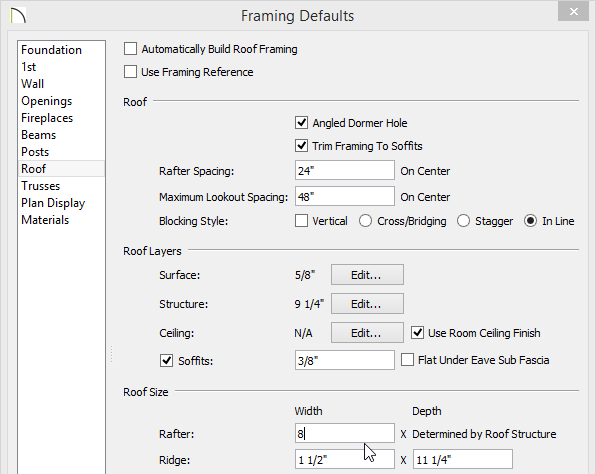 Changing the rafter width on the Roof panel of the Framing Defaults dialog