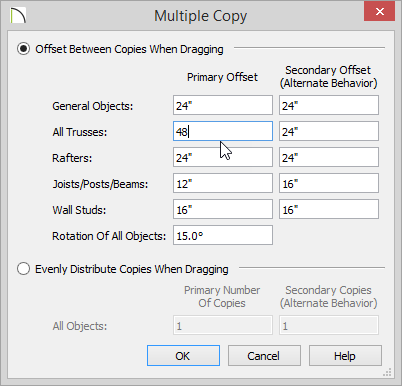 Multiple Copy dialog with 48 inches entered for Primary Offset of All Trusses