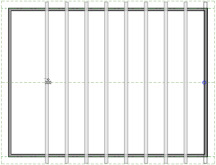 Multiple Copy tool used to copy the trusses across the room