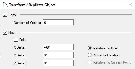 Transform / Replicate Object dialog