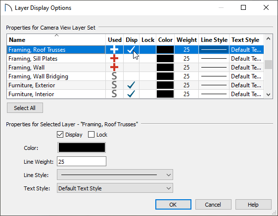Turning the display of the Framing, Roof Trusses layer on in the Layer Display Options dialog.