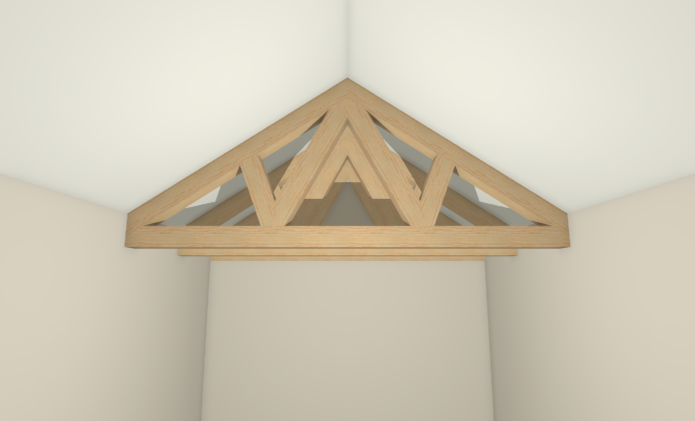 Fully exposed trusses displaying in a camera view