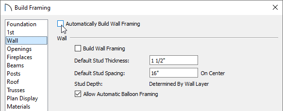 Uncheck the Automatically Build Wall Framing box on the Wall panel fo the Build Framing dialog