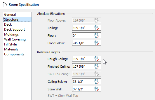 Structure panel of the Room Specification dialog