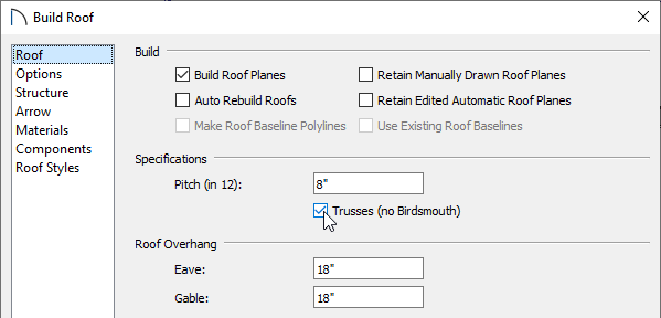 Roof panel of the Build Roof dialog
