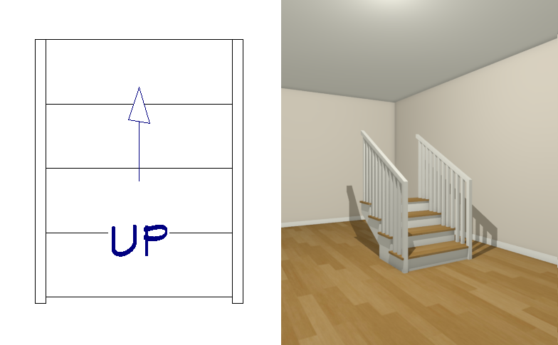 Drawing stairs in a floor plan view with a 3D camera view tiled