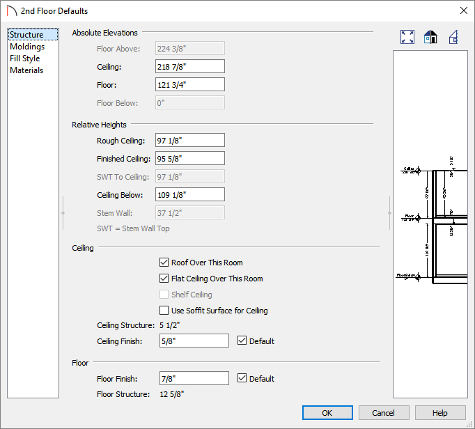 2nd Floor Defaults dialog where values and properties can be specified for the 2nd floor