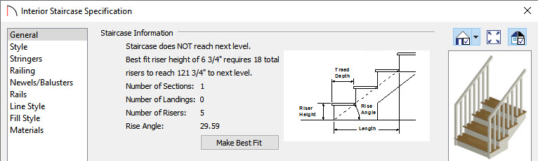 Interior Staircase Specification dialog displaying staircase information