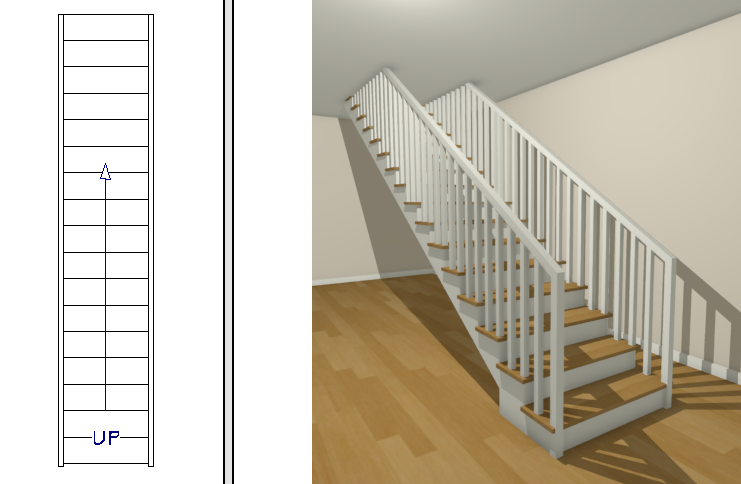 Floor plan view and a 3D camera view showing the staircase reaching the next floor