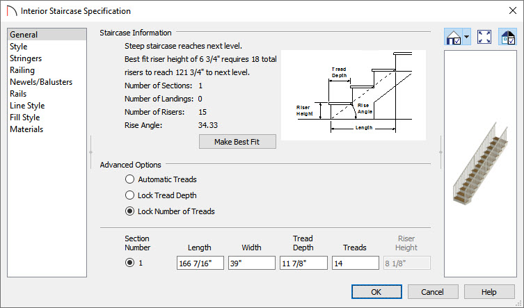 Specifying 14 treads for the staircase in the Interior Staircase Specification dialog